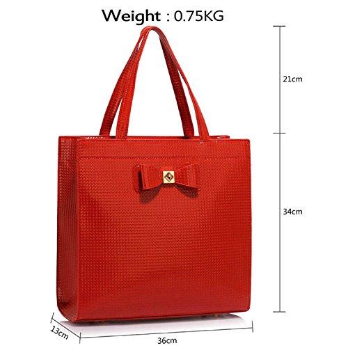 Style verni Sac grande simili Concepteur de à Femme tout fourre Red 2 London main Sac femme à taille cuir A4 bandoulière pour Xardi q741xW