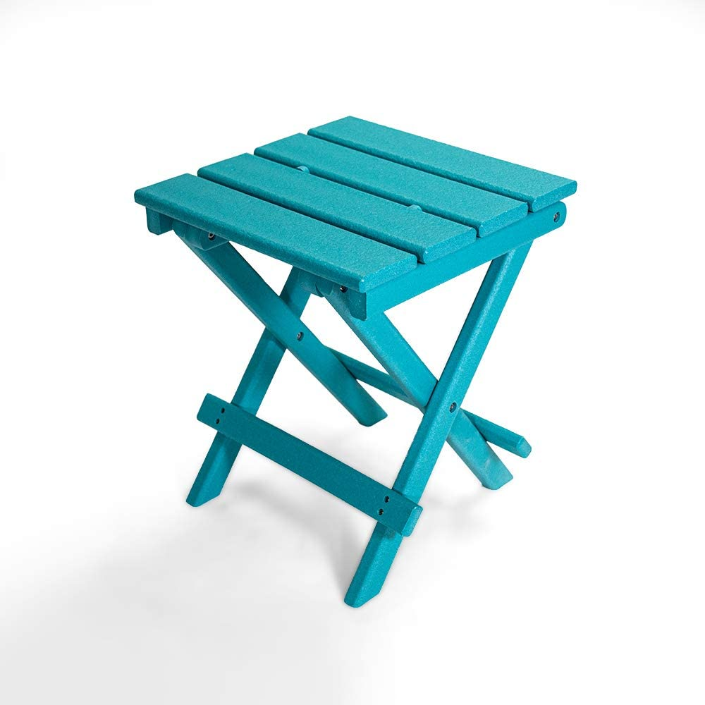 Resin TEAK Folding Outdoor Side Table   Fully Assembled   Weather Resistant, Patio Side Table for Small Spaces Outside (Blue)