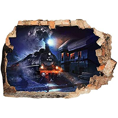 D562 Coal Train Station Cool Boys 3D Wall Stickers Kids Rooms Nursery Decor Wall Decals Murals Peel and Stick for Girls Boys Baby (Medium (58x40cm)): Baby