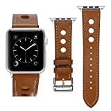 KWLET Leather Straps Compatible with Apple Watch Band 42mm 44mm,Premium Soft Leather Busniess Strap Replacement for Apple Watch Series 4 Series 3 Series 2 Series 1