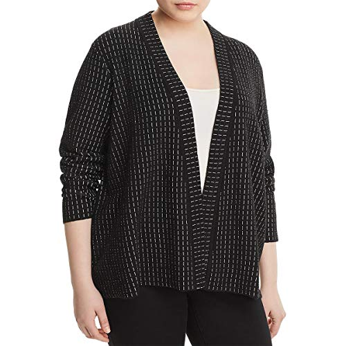 Eileen Fisher Womens Plus Printed Open-Front Cardigan Sweater Black 3X