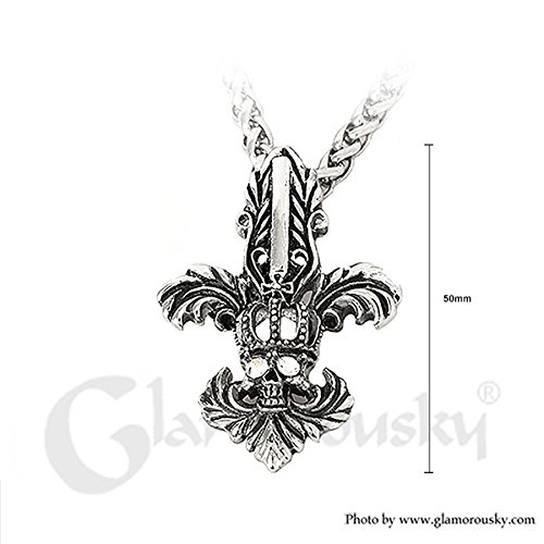 Glamorousky African Native Totem Crown Stainless Steel Pendant with Necklace 24296