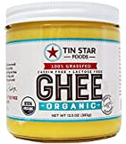 Tin Star Organic Ghee - 100% Grassfed - Gluten-Free - Non GMO - Paleo - Whole30 - Made in USA - 13.5 oz