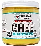 Tin Star Organic Ghee - 100% Grassfed - Gluten-Free - Non GMO - Paleo - Whole30 - Made in USA - 13.5 oz
