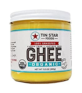 Organic Ghee by Tin Star Foods (13.5 oz): USDA-Certified Organic Clarified Butter from 100% Grassfed Cows   Paleo and Whole 30 Approved   Lactose-Free