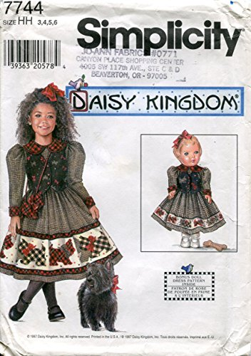 Simplicity Daisy Kingdom Pattern 7744 Girls' Dress and Purse and Dress for 17-Inch Doll, HH - Kingdom Daisy Fabric