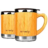 Stainless Steel Bamboo Coffee Mugs with Handle & Spill Proof Lids (Set of 2), Natural Wood Wooden Light Unbreakable Design Eco Friendly Insulated Coffee Tea Travel Mugs; 11 Oz.