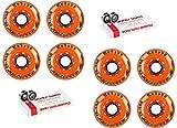Labeda Addiction Wheels XXX Grip Black/White 72mm Roller Hockey x8 +Bones Swiss