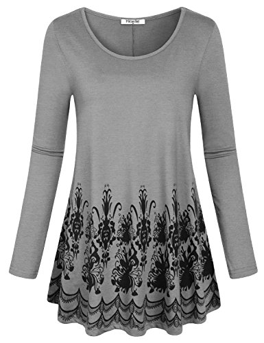 Hibelle Long Sleeve Tunic, Womens Fashion Clothes Rounded Hem Floral Printed Designer Fitted Tee Shirt Nice Tops Blouse for Women Gray XXL