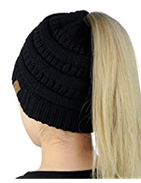 CC BeanieTail Soft Stretch Cable Knit Messy High Bun Ponytail Beanie Hat