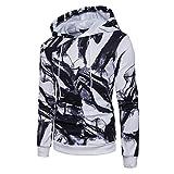 Mens Hooded Sweatshirt - Printed Slim Fit Long Sleeve Pullover Hoodies Shirts - Athletic Sweater Sports Coat Outwear (S, White)