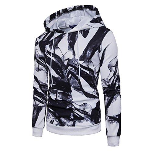 Mens Hooded Sweatshirt - Printed Slim Fit Long Sleeve Pullover Hoodies Shirts - Athletic Sweater Sports Coat Outwear (S, White) by Inkach - Mens Sweatshirt