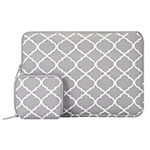 Mosiso 2017 / 2016 MacBook Pro 13 Inch Sleeve (A1706/A1708, with/without Touch Bar) / Microsoft New Surface Pro 2017 / Surface Pro 4 / 3 Quatrefoil Canvas Laptop Bag Cover with Small Case, Gray
