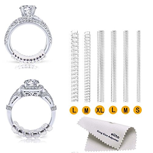 Loading Bridge (Eiito Ring Size Adjuster Invisible (12 Packs), Reducer Ring Guard for Loose Rings (Set of 4 Sizes) 1.2mm/2mm/3mm/4mm (Spiral Style-A))