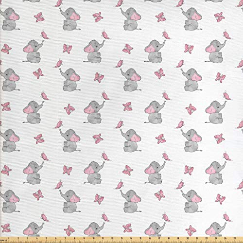 Ambesonne Elephant Nursery Fabric The Yard, Baby Elephants Playing Butterflies Design, Decorative Fabric Upholstery Home Accents, 2 Yards, Grey Pale Pink White