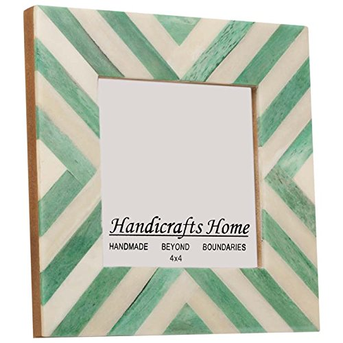Picture Frames Photo Frame Chevron Herringbone Vintage Wooden Handicrafts Home Handmade Naturals Bone Classic Size 4x4 Inch (Green) (Natural Home Classic)