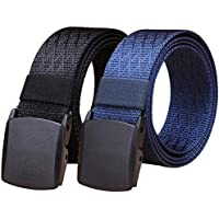 "WYuZe 2 Pack Nylon Belt Outdoor Military Web Belt 1.5"" Men Tactical Webbing Belt"