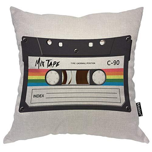 (Moslion Music Decorative Pillow Case Vintage Cassette 80S Revival Mix Tape Disco Dance Hipster Throw Pillow Cover Square Accent Cotton Linen Home 18x18)