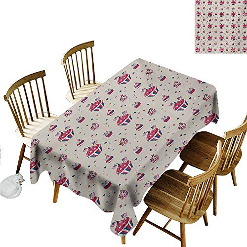 Xlcsomf Modern Long Tablecloth USA Protect Table Cupcakes with National Flags Cute Cafe Yummy Homeland July Fourth Caricature Beige Navy Blue Red,W60 xL102