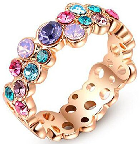 - TEMEGO Vintage Style Flower Rings Rose Gold Plated,Colorful Crystal CZ Eternity Pretty Pinky Finger Ring