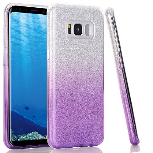 WALAGO Bling Glitter Sparkle Case for Galaxy S8, Three Layer Shockproof Soft TPU + Hard PC Protective Case Skin for Samsung Galaxy S8 5.8 - White Purple Gradient