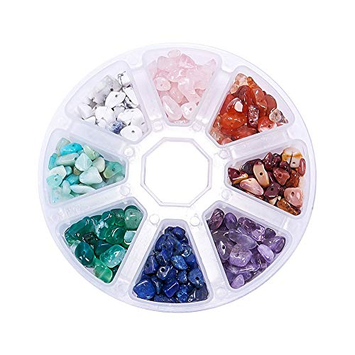 (1 Box(About 190g)Natural Chips Stone Irregular Gemstone Beads,8 Color Gemstone Beads,Chakra Energy Healing Stone.Used in Bracelets,Necklaces and Various DIY Production. (8 Colors))