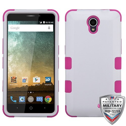 Ivory White/Hot Pink TUFF Hybrid Phone Protector Cover [Military-Grade Certified](with Package) for ZTE N9132 (Prestige) ZTE Z833 (Avid Trio) ZTE Cheers ZTE Z828 (Avid Plus) ZTE Z832 (Sonata 3) ZTE - Ivory Sonata