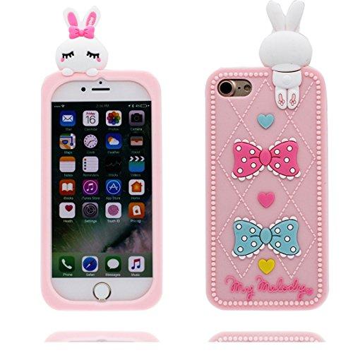 iPhone 7 Copertura,iPhone 7 Custodia,Cassa protettiva di gomma molle del fumetto 3D del coniglio bella case cover per iPhone 7 4.7 inch-rosa