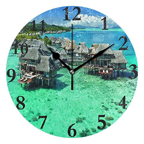 Wall Clock Hawaiian Personality House Silent Non Ticking Decorative Round Digital Clocks Indoor Outdoor Kitchen Bedroom Living Room