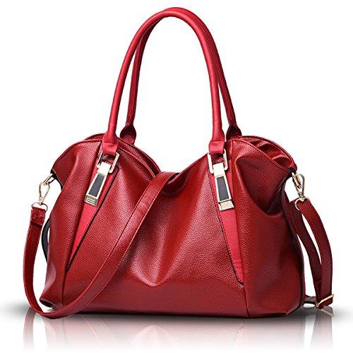 di in il PU mostra mette borsa elaborazione nuova del di grande femminile Tisdaini Vino morbido La del dell'unità suolo spalla pacchetto casuale messaggero raccoglitore Rosso del 0fqa6wx
