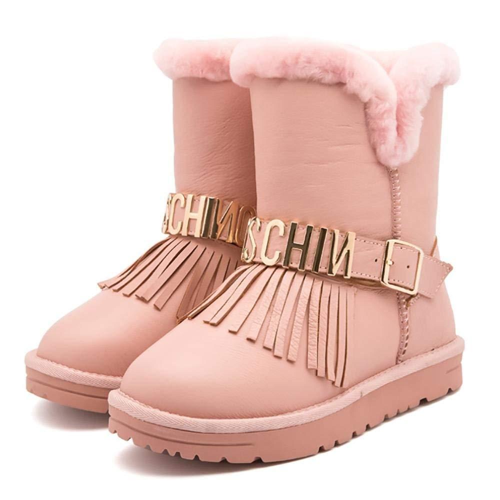 Oudan Warm Gefütterte Stiefel Stiefel Stiefel Schuhe Kunstfell Stiefel Nieten Stiefelies Winterstiefel (Farbe   Rosa, Größe   28) e56ab2