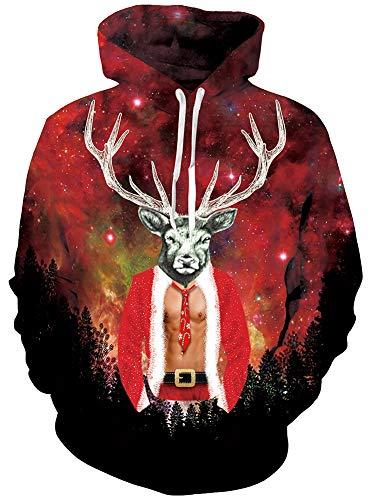 RAISEVERN Men Ugly Christmas Hoodie 3D Print Deer with Fake 2 Pieces Hispter Hoodie