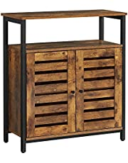 VASAGLE LOWELL Standing Cabinet, Storage Cabinet, Accent Side Cabinet with Shelf, Cupboard with Louvered Doors, Multifunctional in Living Room, Bedroom, Hallway, Rustic Brown LSC76BX