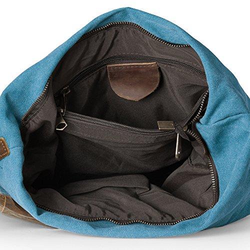 Escuela KU P Cuero Lona Bolsos Mujeres las Señora Ocasional para de Bandolera Retro gris de VDSL Crossbody Moda Azul Viaje Bolsos Bolsa BExaPW
