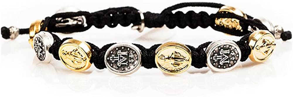 My Saint My Hero Miraculous Mary Blessing Bracelet - Mixed Medals on Black Cord