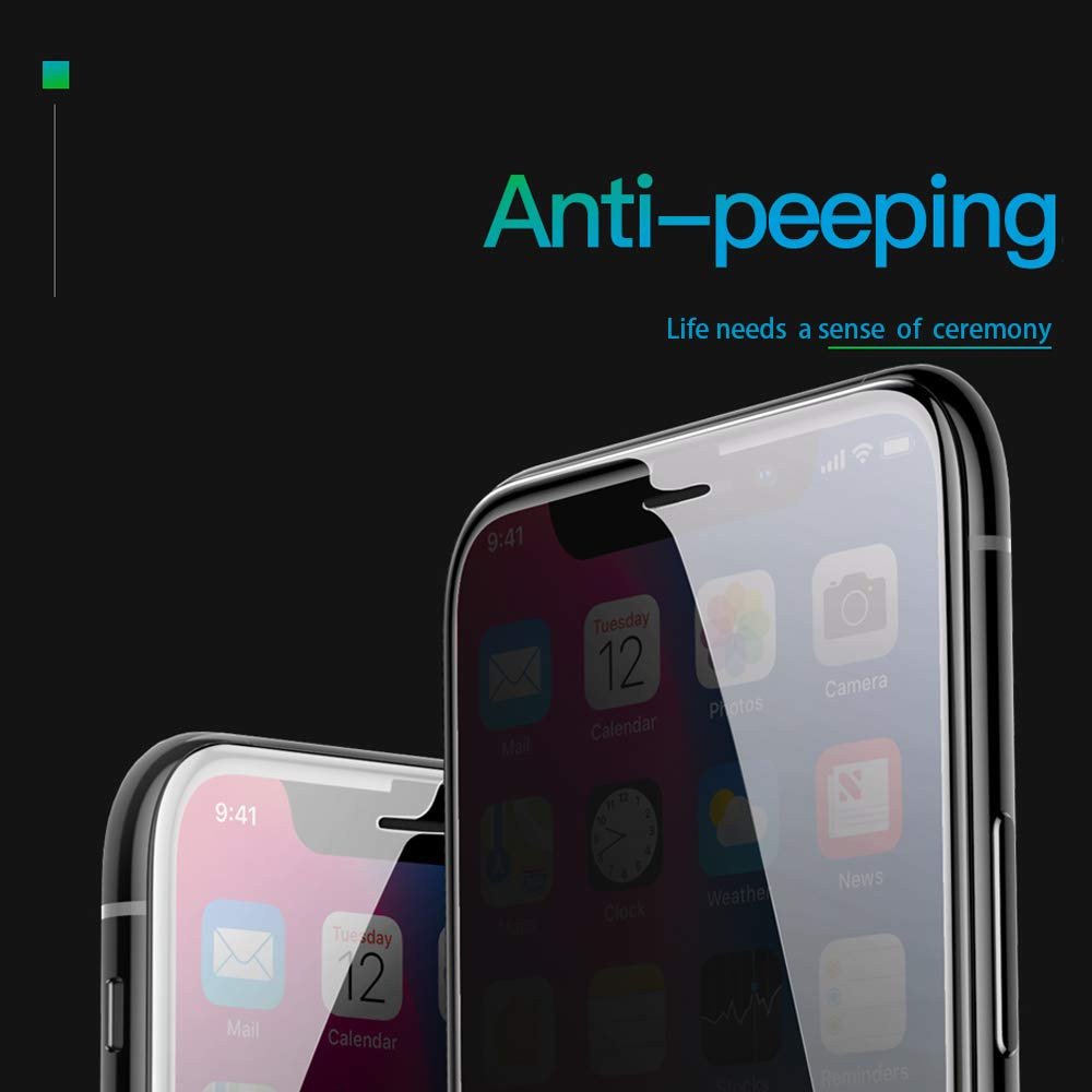 2Pack Privacy Screen Protector Glass Compatible with iPhone XR 6.1 inch Anti Spy Anti Peep Full Screen Tempered Glass for iPhoneXR 9 Hardness Bubble Free Anti Scratch Anti Fingerprint