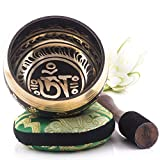 Image of Silent Mind ~ Tibetan Singing Bowl Set ~ Om Mani Padme Hum ~ With Mallet & Silk Cushion ~ For Meditation, Chakra Healing, Prayer ,Yoga, and Mindfulness ~ Perfect Gift