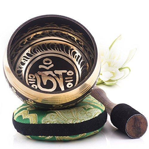 Silent Mind ~ Tibetan Singing Bowl Set ~ Om Mani Padme Hum ~ With Mallet & Silk Cushion ~ For Meditation, Chakra Healing, Prayer ,Yoga, and Mindfulness ~ Perfect Gift