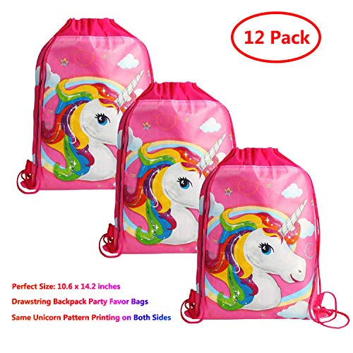KONGZING Unicorn Party Favor Bags 12 Pack Unicorn Bag with Drawstring Backpack Pink Treat Bag for Women Girls Birthday by KONGZING
