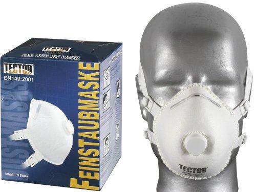 TECTOR 4236 Pack of 5 Dust Mask with Valve FFP3 DUST MASK EN1 49:20 01 FF P3 Feldtmann