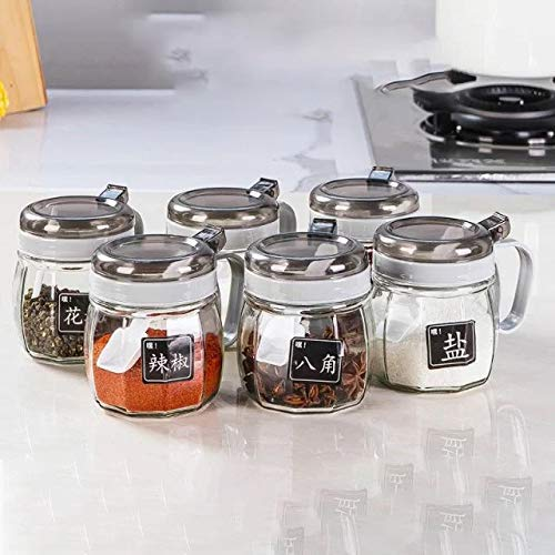 XILEI Seasoning box 6 Pieces Glass Condiment Container Salt and Pepper Bowls
