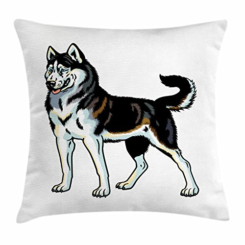 Lunarable Husky Throw Pillow Cushion Cover, Cartoon Style Siberian Husky Dog Breed Image as Standing on His Legs, Decorative Square Accent Pillow Case, 16