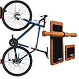 TREAD CO. Bike Wall Mount, Vertical Bicycle Bike Rack Hanger & Garage Storage | Mount Your Bike On Your Walls in Your Shed and Garage - Wood Finish