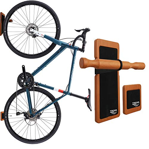 TREAD CO. Bike Wall Mount, Vertical Bicycle Bike Rack Hanger & Garage Storage | Mount Your Bike On Your Walls in Your Shed and Garage – Wood Finish