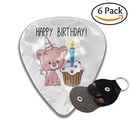 Karen Felix Classic Guitar Pick (6 Packs) Happy Birthday Pink Cat And Cake Celluloid Guitar Picks Plectrums For Guitar Bass ()