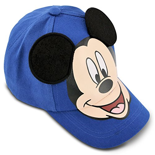 Disney Little Boys' Mickey Mouse Cotton Baseball Cap with Dimensional Ears, Blue, Black, One Size