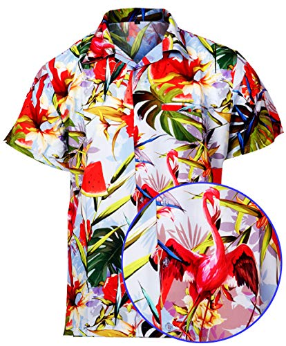 Hawaiian Shirt for Mens Flamingo Print Short Sleeve Casual Fashion Beach Shirt