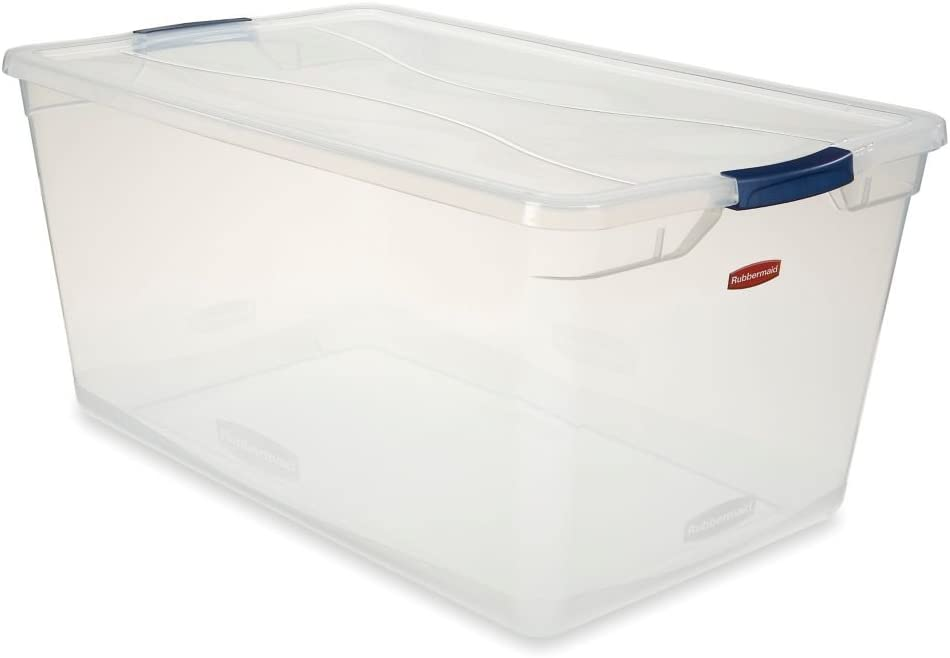Rubbermaid 3Q35-00-CLMCB Clever Store Latching Storage Tote Container, 95-Quart, Blue Handle