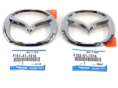 2006-2008 Mazda RX-8 Front Bumper & Rear Trunk Deck Lid Chrome Emblem Set OEM