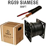 Siamese Cable 500ft Rg59 95% Video & Power Wire Rg59/u Cctv Security Camera Bulk